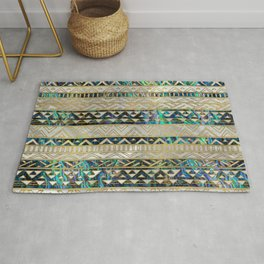 Tribal Ethnic  Pattern Gold on Abalone Shell and Pearl Rug