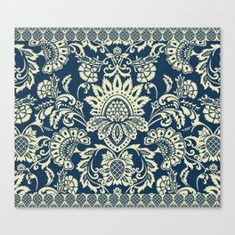 damask in white and blue vintage Canvas Print