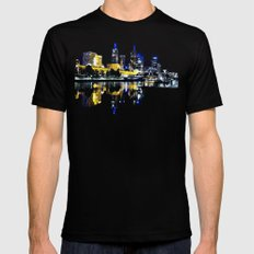Melbourne Night view MEDIUM Mens Fitted Tee Black