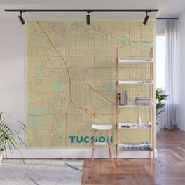Tucson Map Retro Wall Mural