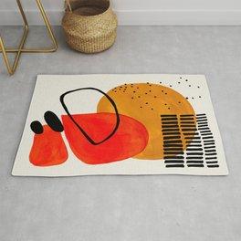 Mid Century Modern Abstract Colorful Art Yellow Ball Orange Shapes Orbit Black Pattern Rug