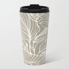 Gray Grey Alabaster Floral Metal Travel Mug