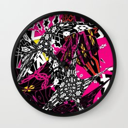 Abstract in callage bright colors and layers of patterns Wall Clock