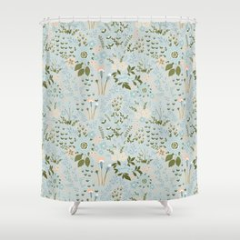 Star Sapphire Floral Celebration Moss Shower Curtain