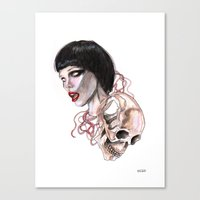 lucas david Canvas Prints featuring  Alice Glass and  skull By Lucas David by Lucas David