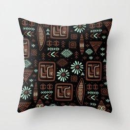 Hand Drawn Ethnic Tribal Aztec Pattern Throw Pillow