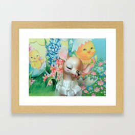 easter fawn and chicks Framed Art Print