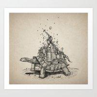tortoise Art Prints featuring Tortoise Town by Brandon Dover (Braniel)