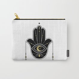 Hamsa Hand in Black Carry-All Pouch