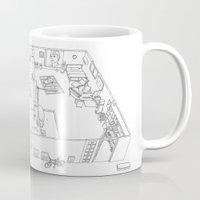 dark side Mugs featuring DARK SIDE IS VACANCY by kasi minami