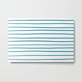 Pantone Barrier Reef 17-4530 Hand Drawn Horizontal Lines on White Metal Print