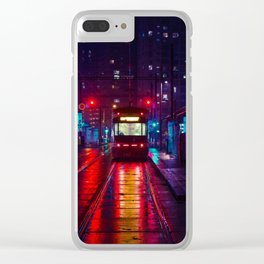 City Trolley Night Clear iPhone Case