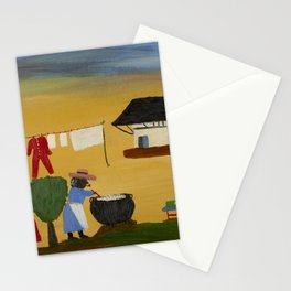 African American Masterpiece 'The Wash' portrait painting by Clementine Hunter   Stationery Cards