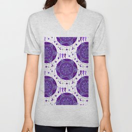 Monochromatic mandala dream catchers Unisex V-Neck