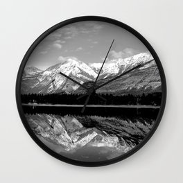 Black and White Mountains Wall Clock