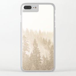 Vintage Sepia Fir Trees Clear iPhone Case