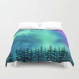 """Wilderness Lights"" Aurora Borealis watercolor landscape painting Duvet Cover"