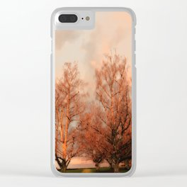 TREES AT SUNSET Clear iPhone Case