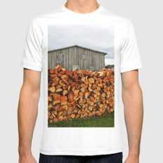Barn and Firewood MEDIUM White Mens Fitted Tee