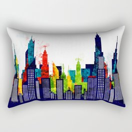 Colorful City Buildings And Skyscrapers In Watercolor, New York Skyline, Wall Art Poster Decor, NYC Rectangular Pillow