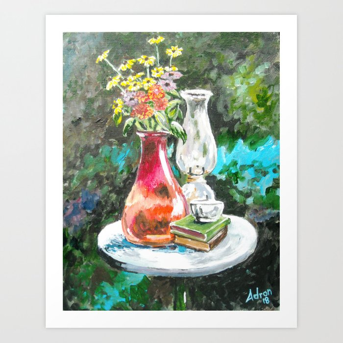 Still Life, Flowers in Red Vaise Art Print