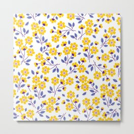 Floral pattern. Yellow flowers. Metal Print