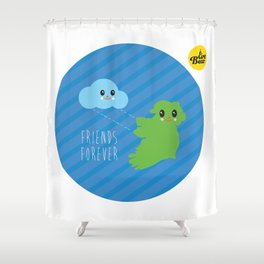 Friends Forever. Eire Bear and a cloud. Shower Curtain