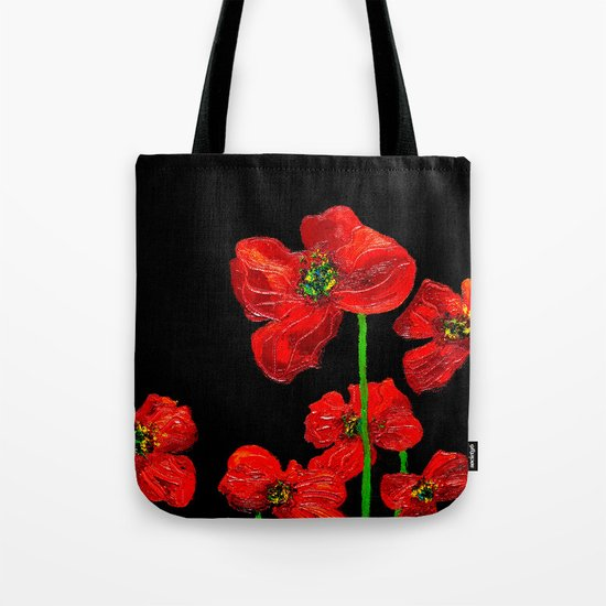 red flowers on black Tote Bag