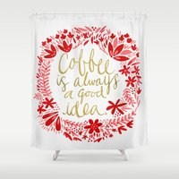 coffee Shower Curtains featuring Coffee by Cat Coquillette