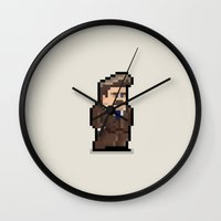 ron swanson Wall Clocks featuring Ron Swanson by Andrew Onorato