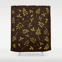 Gold Leaves Design on Brown Shower Curtain