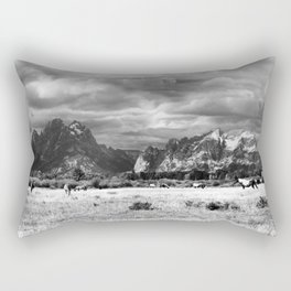 Horse and Grand Teton (Black and White) Rectangular Pillow