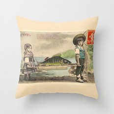 The April Fish - Vintage / Antique French Post Card - Piosson D'Avril - April Fools Day Throw Pillow