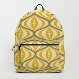Retro Mid-Century Saucer Pattern in Yellow, Gray, Cream Backpack