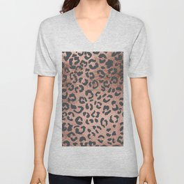 Modern charcoal grey rose gold leopard pattern Unisex V-Neck