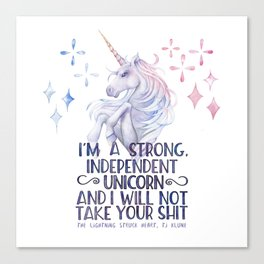 I am a strong independent unicorn - The lightning struck heart Canvas Print