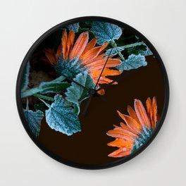 Frozen Orange Flowers on Dark Background #decor #society6 #buyart Wall Clock