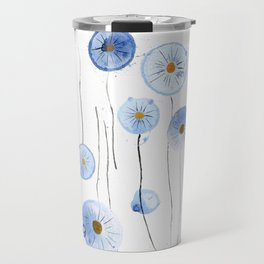 blue abstract dandelion 2 Travel Mug