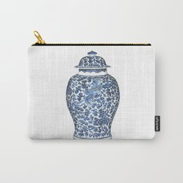 Blue & White Chinoiserie Porcelain Ginger Jar with Flying Phoenix Carry-All Pouch