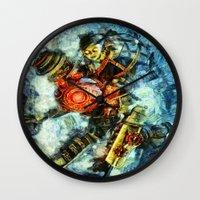 bioshock Wall Clocks featuring Bioshock Big Sister by Joe Misrasi