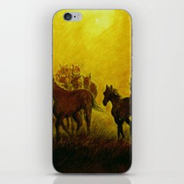 Horses at sunset iPhone Skin