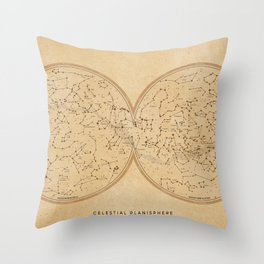 Sky map celestial planisphere, vintage distressed sepia Throw Pillow