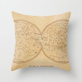 Sky map celestial planisphere, vintage distressed sepia Throw Pillow