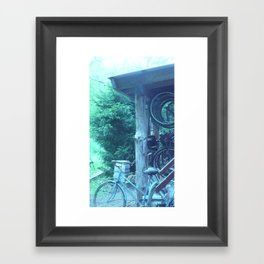 tall. attempts of humans on earth bicycling. #105 Framed Art Print