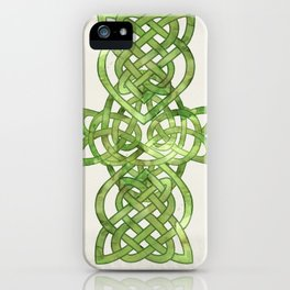 Celtic Knot:  Green Watercolor with complex form - Ireland - traditional folk art iPhone Case