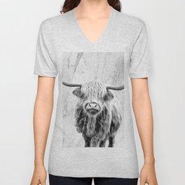 Highland Cow on Marble Black and White Unisex V-Neck