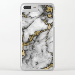 Faux marble Stone Gray Tones Gold Accent Clear iPhone Case