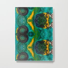Teal boho eye of Sun Metal Print