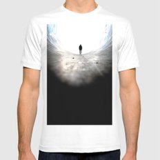 look out. White Mens Fitted Tee MEDIUM