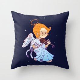 Cute Christmas  baby angel playing violin Throw Pillow